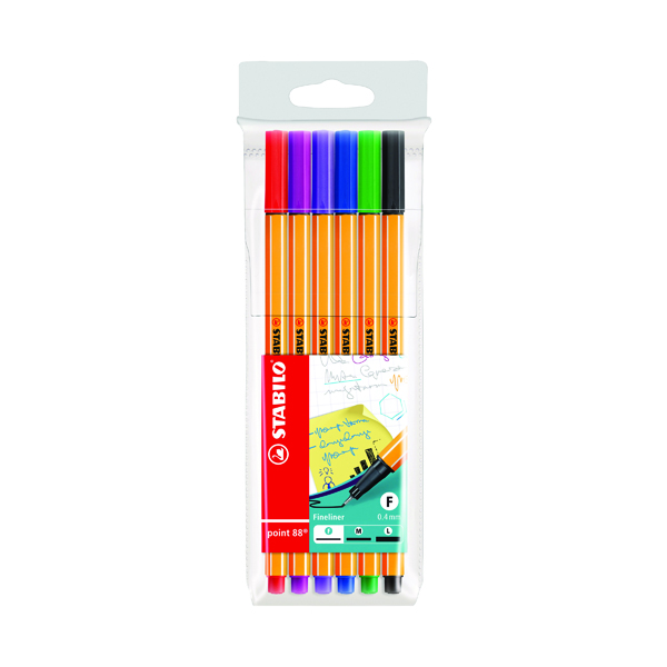 Stabilo 88 Point Fineliners Wallet Assorted (10 Pack) 88/6