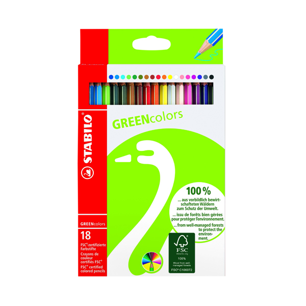 Coloured Stabilo Green Colours Colouring Pencils (18 Pack) 6019/2-181