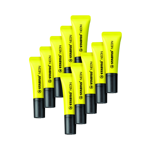 Stabilo Neon Yellow Highlighter (10 Pack) 72/24