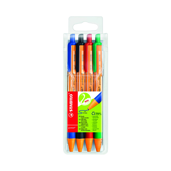 Assorted Stabilo Green Pointball Retractable Ball Pen (4 Pack) 6030/4