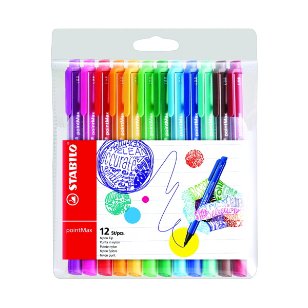Stabilo Point Max Fineliner Pen Assorted (12 Pack) 488/12-01