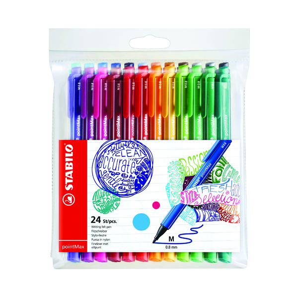 Stabilo Point Max Fineliner Pen Assorted (24 Pack) 488/24-01