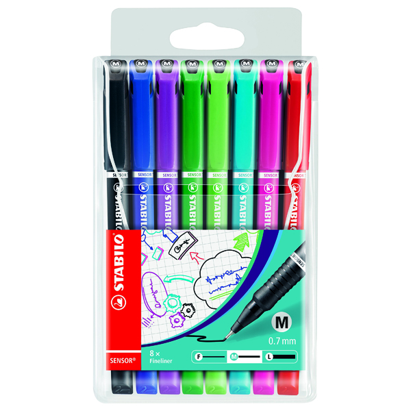 Colouring Pens Stabilo Sensor Fineliner Medium Point Assorted (8 Pack) 187/8
