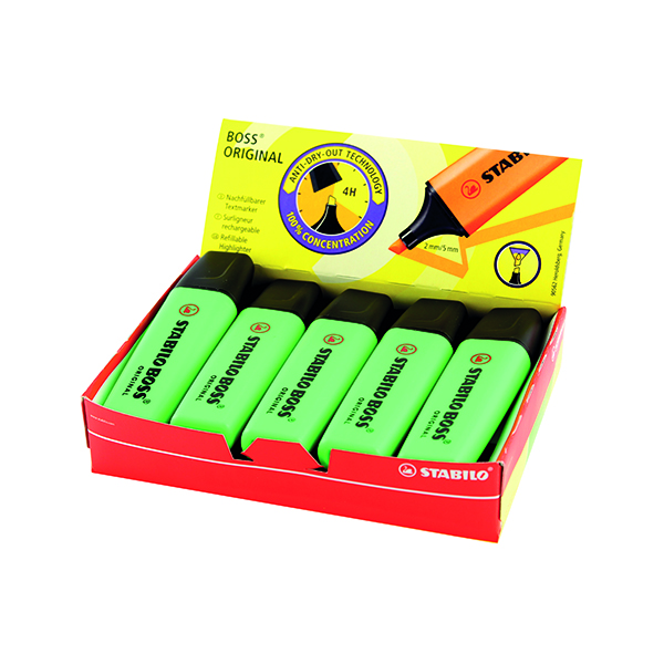 Stabilo Boss Original Green Highlighter (10 Pack) 70/33/10