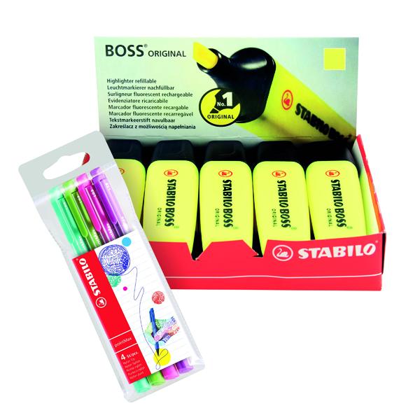 Stabilo Boss Highlighter Yellow (10 Pack) FOC Fibre Tip Pen (4 Pack) SS811675