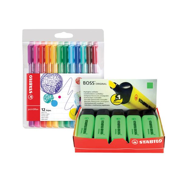 Stabilo Boss Highlighter Green (10 Pack) FOC Fibre Tip Pen (4 Pack) SS811677