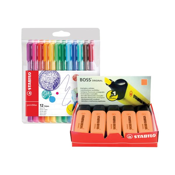 Stabilo Boss Highlighter Orange (10 Pack) FOC Fibre Tip Pen (4 Pack) SS811678