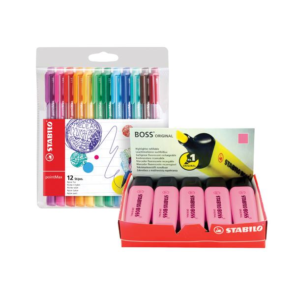 Assorted Stabilo Boss Highlighter Assorted (10 Pack) FOC Fibre Tip Pen (4 Pack) SS811679