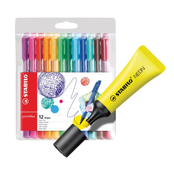 Stabilo Boss Highlighter Neon Yellow (10 Pack) FOC Fibre Tip Pen (4 Pack) SS811680