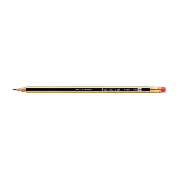 Black Lead Staedtler Noris 122 Rubber Tipped HB Pencil (12 Pack) 122-HBRT
