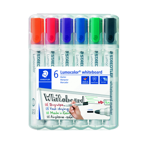 Staedtler Lumocolor 351 Drywipe Marker Assorted (6 Pack) 351 WP6