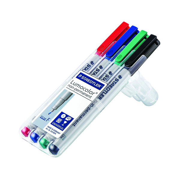 Non-Permanent Staedtler Lumocolour Universal Pen Water Soluble Fine Assorted (4 Pack) 316-WP4