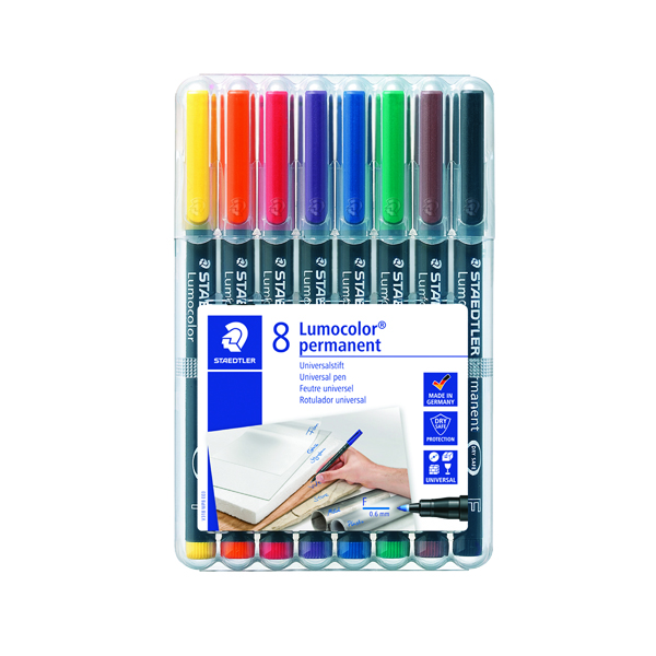 Staedtler Lumocolour Universal Pen Permanent Fine Assorted (8 Pack) 318-WP8