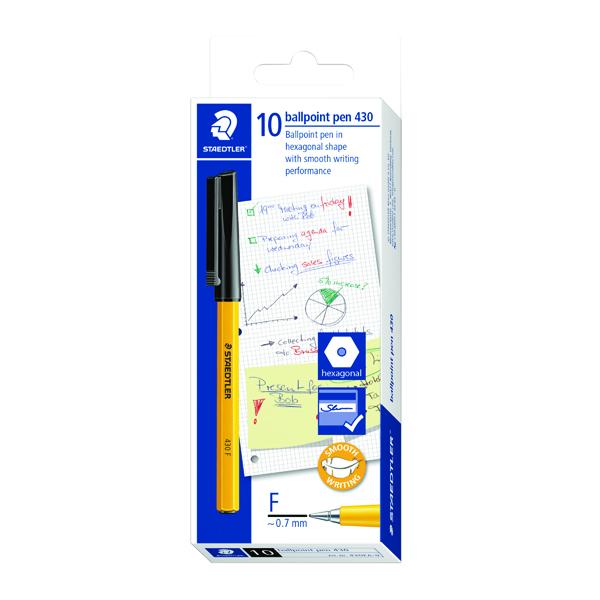 Staedtler 430 F Stick Ballpoint Pen Fine Black (10 Pack) 430-F9
