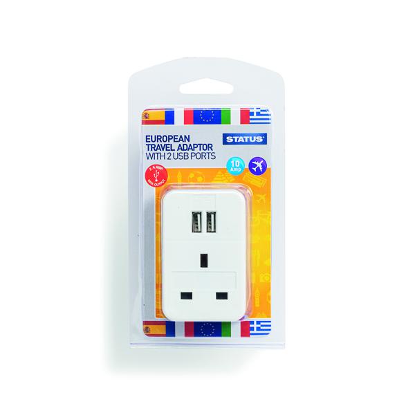 Briefcases & Luggage Status European USB Travel Adaptor (3 Pack) S2USBPTEURO1PK3