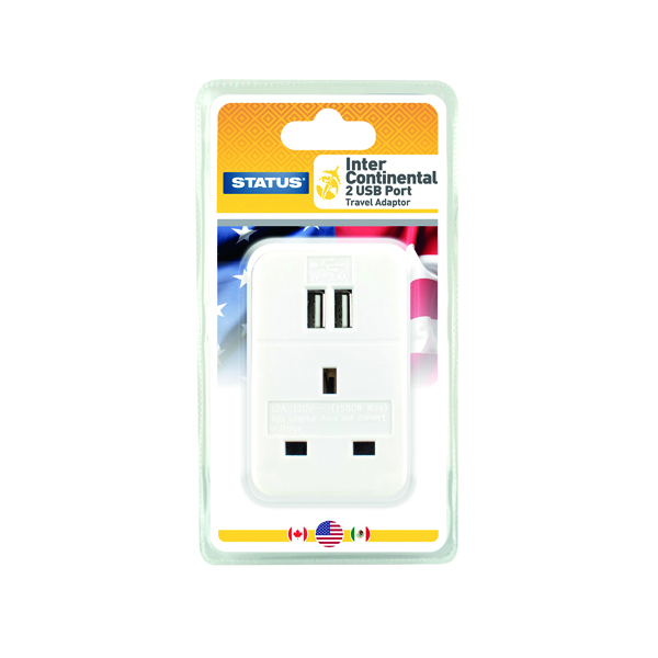Status Intercontinental USB Travel Adaptor (3 Pack) S2USBPTINTER1PK3