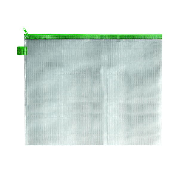 Unspecified BDS Mesh Zip Bag 405x315mm Green (5 Pack) ZIPPER GREEN