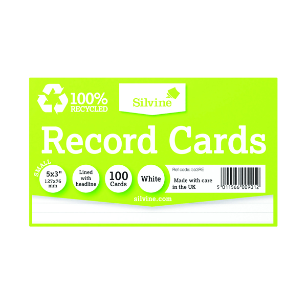 Record Cards Silvine Climate Friendly Lined Record Cards 5 x 3in 553RE