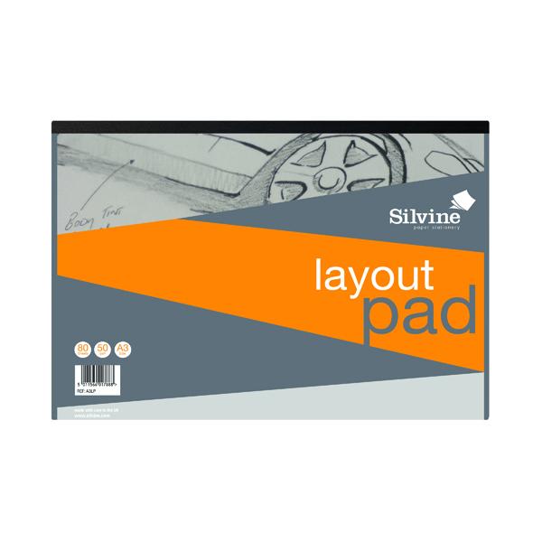 A3 Silvine Layout Pad 80 Sheets A3 A3LP