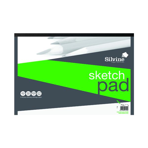 A3 Silvine Drawing Pad Acid Free Cartridge Paper 50 Sheets A3 475