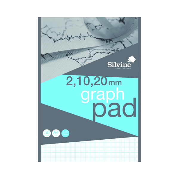 A4 Silvine Graph Pad 2/10/20mm 50 Sheets A4 A4GP21020