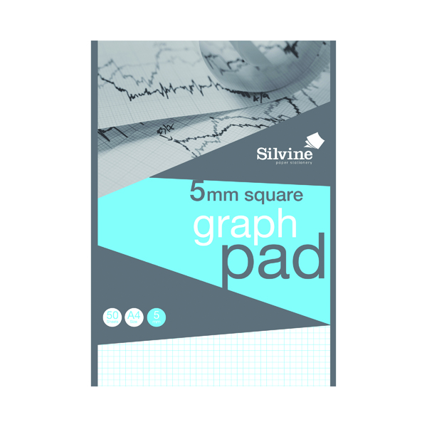 A4 Silvine Graph Pad 5mm Squares 50 sheets A4 A4GPX