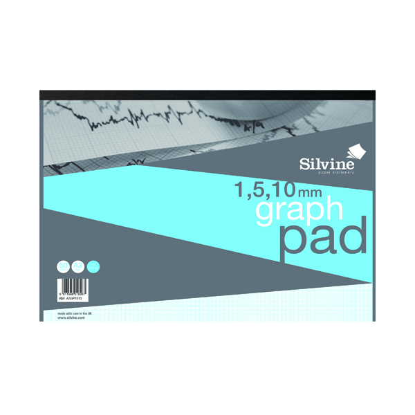 A3 Silvine Graph Pad 1/5/10mm 50 Sheets A3 A3GP1510