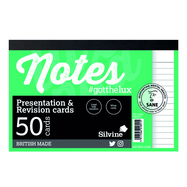 Record Cards Silvine Revision Presentation and Note Cards White CR50-C