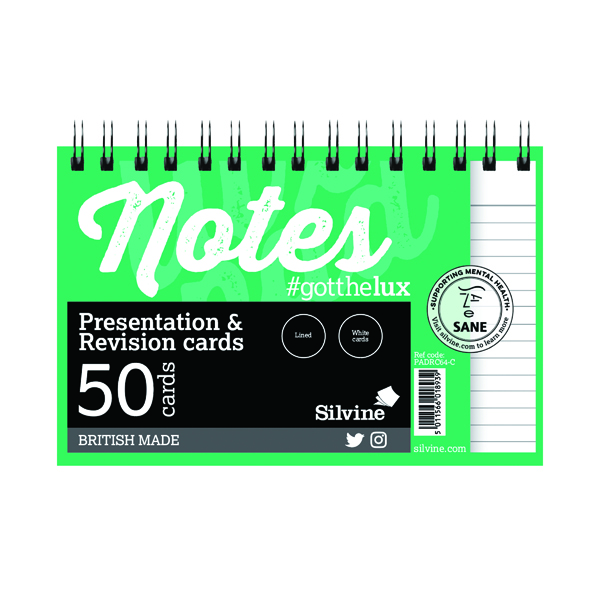 Silvine Revision Presentation/Note Card Twin Wht (10 Pack) PADRC64-C
