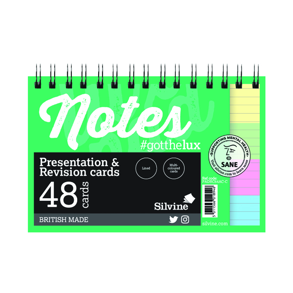 Silvine Revision Presentation/Note Card Twin Assorted (10 Pack) PADRC64AC-C