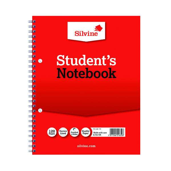 Silvine Feint Ruled Student's Notebook 120 Pages 229x178mm (12 Pack) 139