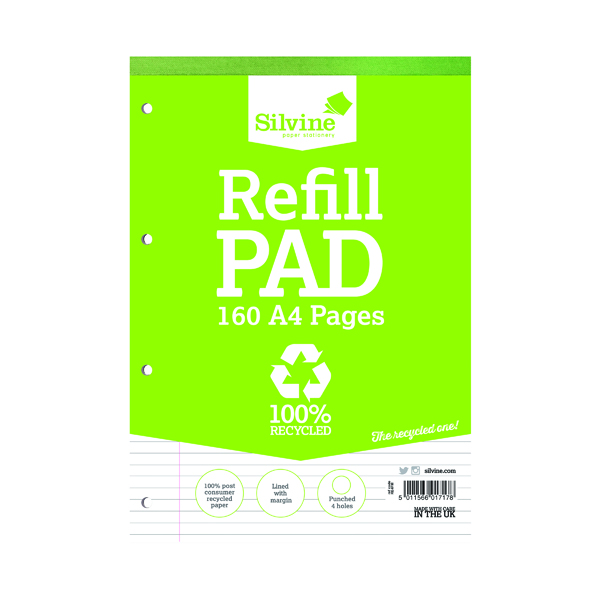 Ruled Silvine Everyday Recycled Ruled Refill Pad A4 (6 Pack) RE4FM-T
