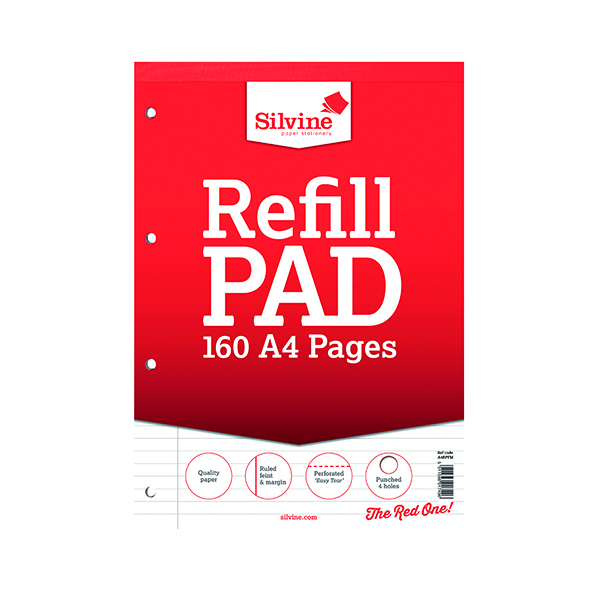 Ruled Silvine Ruled Margin Punched Headbound Refill Pad 160 Pages A4 Pad (6 Pack) A4RPFM