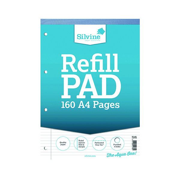 Ruled Silvine Narrow Feint Ruled Headbound Refill Pad 160 Pages A4 (6 Pack) A4RPNM