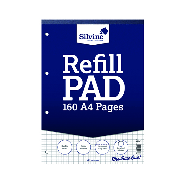 Silvine Ruled 5mm Square Headbound Refill Pad 160 Pages A4 (6 Pack) A4RPX