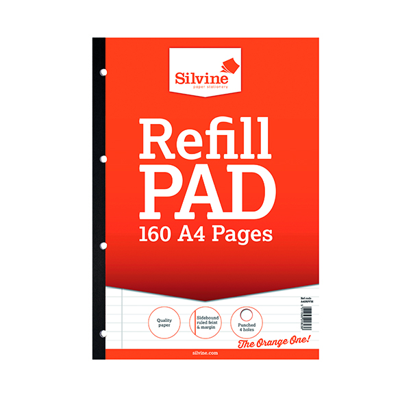 Ruled Silvine Punched Feint Ruled Sidebound Refill Pad 160 Pages A4 (6 Pack) A4SRPFM