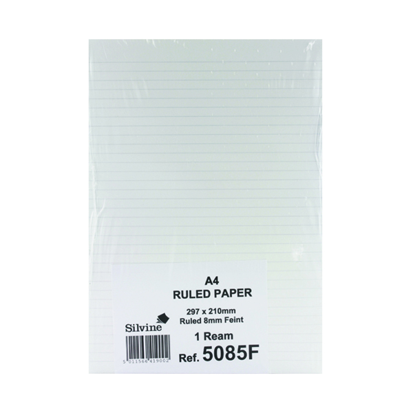 A4 Silvine Feint Ruled Unpunched Fly Paper A4 (500 Pack) 5085FEINT