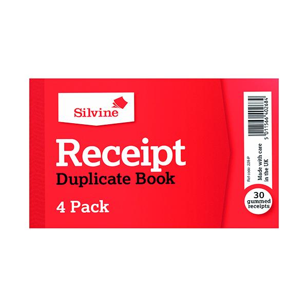 Silvine Duplicate Receipt Book 63x106mm Gummed (36 Pack) 228