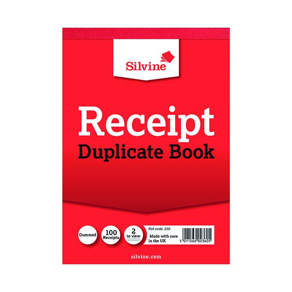 Silvine Duplicate Receipt Book 105x148mm Gummed (12 Pack) 230
