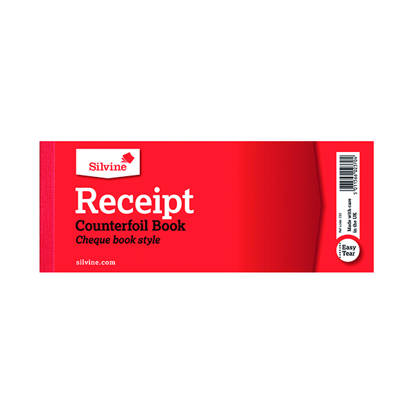 Silvine Receipt Book with Counterfoil 80x202mm (36 Pack) 233