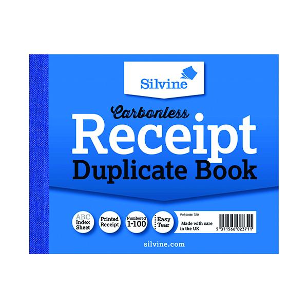 Silvine Carbonless Duplicate Receipt Book 102x127mm (12 Pack) 720-T