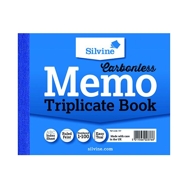 Silvine Carbonless Triplicate Memo Book 102x127mm (5 Pack) 707