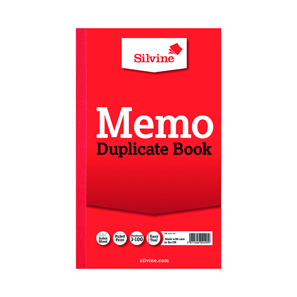 Silvine Duplicate Memo Book 210x127mm (6 Pack) 601