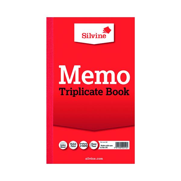 Silvine Triplicate Memo Book 210x127mm (6 Pack) 605