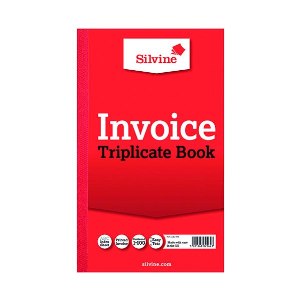Silvine Triplicate Invoice Book 210x127mm (6 Pack) 619