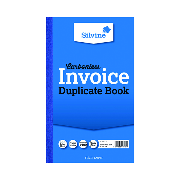 Silvine Carbonless Duplicate Invoice Book 210x127mm (6 Pack) 711-T