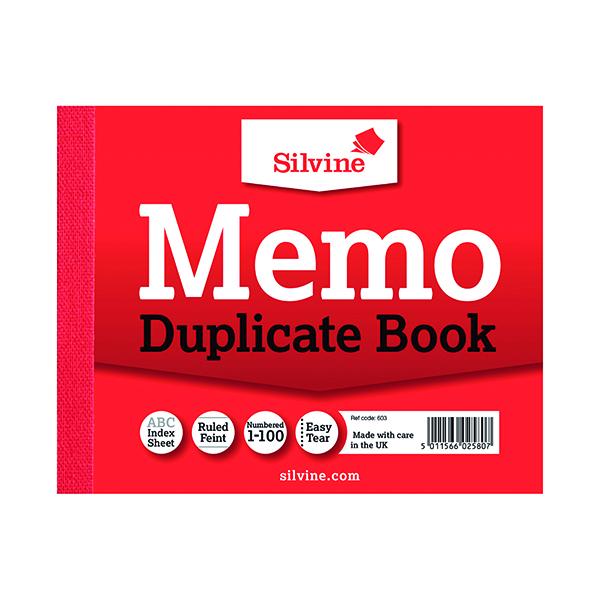 Silvine Duplicate Memo Book 102x127mm (12 Pack) 603