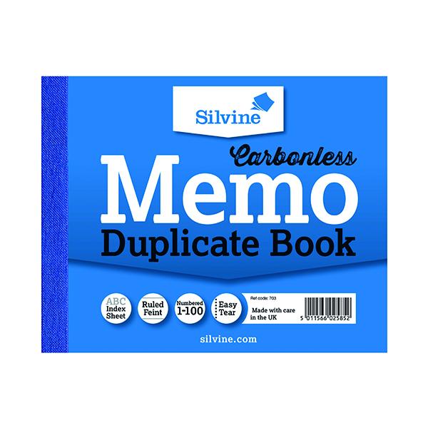 Silvine Carbonless Duplicate Memo Book 102x127mm (12 Pack) 703-T