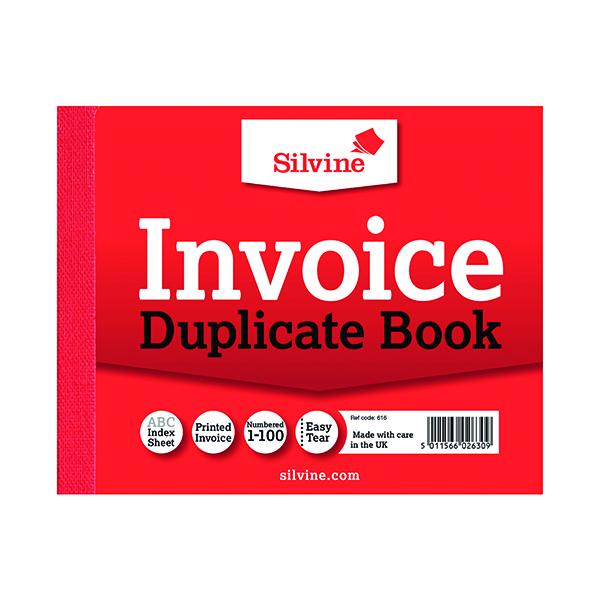 Silvine Duplicate Invoice Book 102x127mm (12 Pack) 616