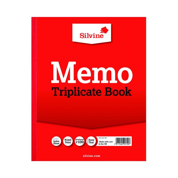 Silvine Triplicate Memo Book 254x203mm (6 Pack) 606